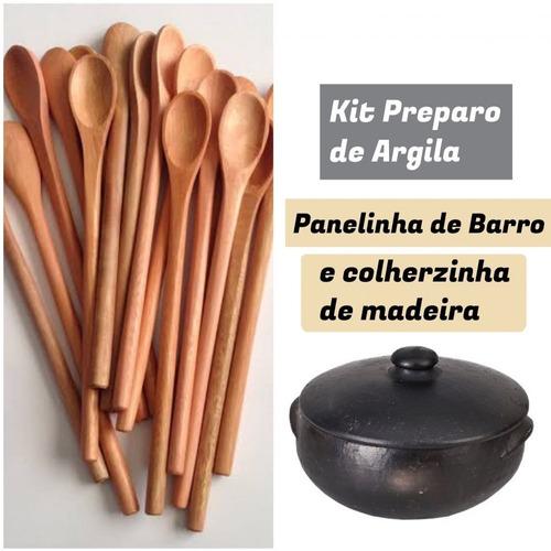 Panelinha De Barro/colher De Pau + Argilas