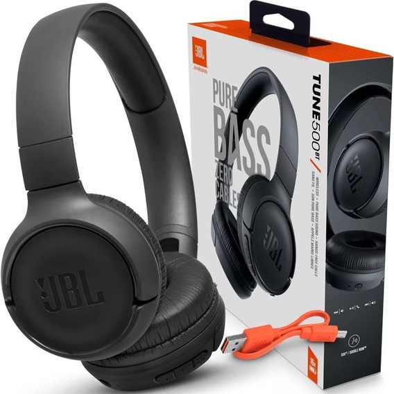 Fone Jbl Tune 500bt Bluetooth Preto T500bt Até 16h De Musica