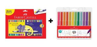 Canetinha Hidrocor Bicolor Faber Castell + Fine Pen 12 Cores