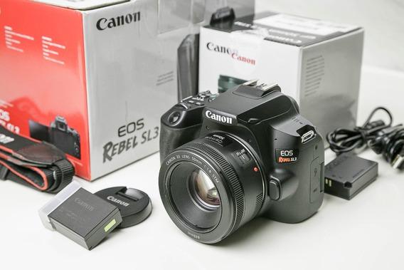 Canon Eos Sl3 + Lente 50mm + Bateria + Fonte Ext. + Cartão