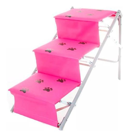 Tubline Rampa Escada Para Cães Cachorro Dobravel Pet Rosa