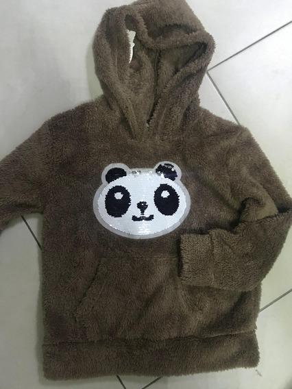 Blusa De Pelinho Panda Com Touca Infantil 6-12 Ano