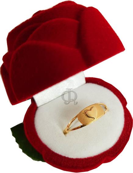 Anillo Oro 18k Corazon Macizo Compromiso Certificado A211