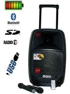 Bafle Potenciado Portátil Recargable Moon Batt12 Usb Mp3 Bluetooth + 2 Micrófonos