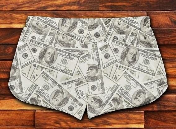 Short Feminino Moda Praia Patricinha Estampa Dolar Ref 11