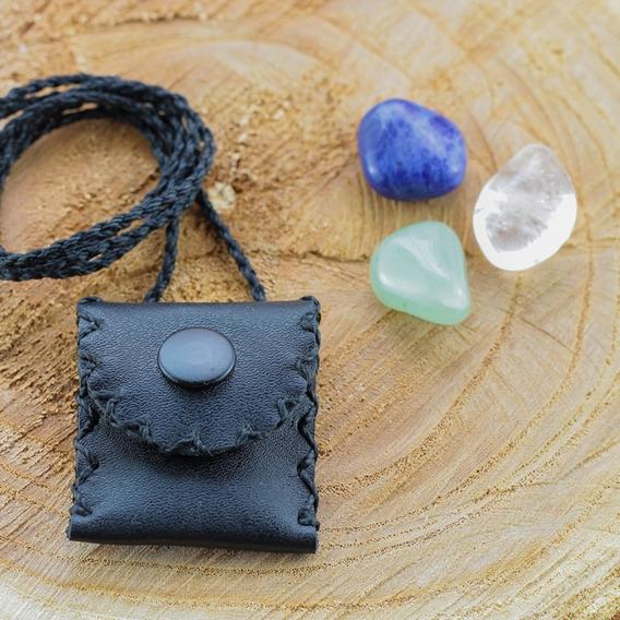 Patuá Em Couro Legítimo Amuletos De Proteção Unissex