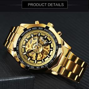 Relógio X Skeleton Automatico Aço Dourado Estilo Invicta