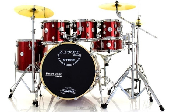 Bateria X-pro Stage Plus Wine Red 20¨,8¨,10¨,12¨,14¨ Com Pra
