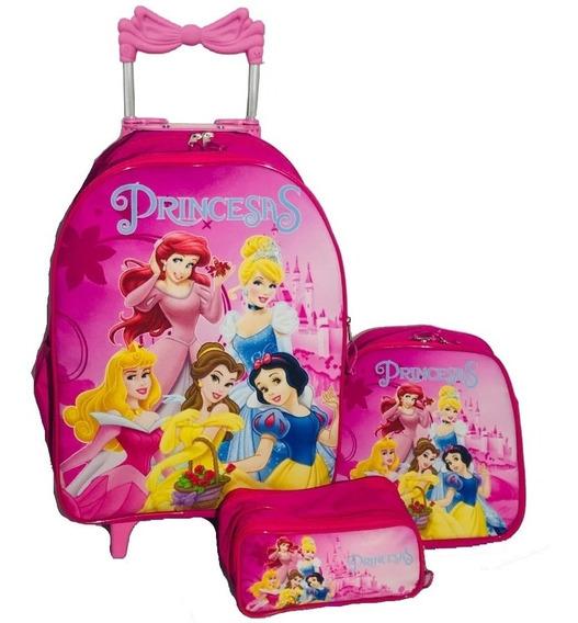 Mochila Princesas Disney Com Rodinhas + Estojo + Lancheira
