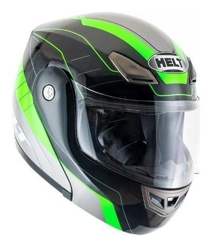 Capacete Escamoteavel Helt Hippo Gray Preto/verde Moto