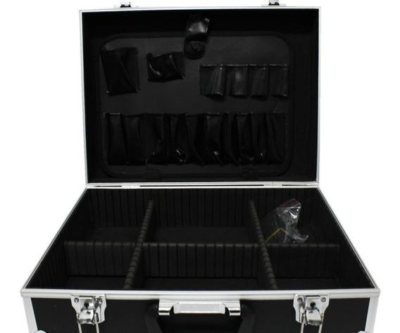 Maletin Porta Cosmeticos Valija Maquillaje Aluminio Negro