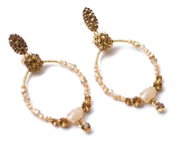 Brincos Femininos Argola Bijuteria Em Metal Dourado E Pedras
