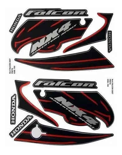 Kit Adesivo Jogo Faixas Moto Honda Falcon 2007 Preta