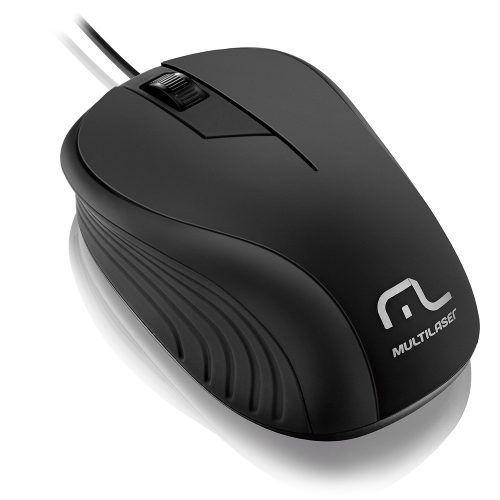 Mouse Emborrachado Preto C/ Fio Usb Mo222 Multilaser