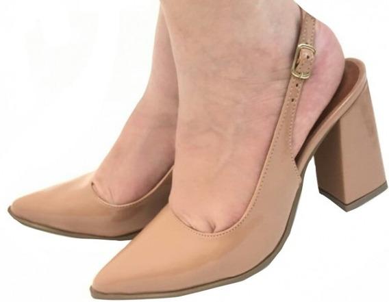 Sapato Feminino Scarpin Bico Fino Fechado Salto Grosso Nude Salto Alto Salto Medio Sapatos Femininos Saltos Baratos Prom