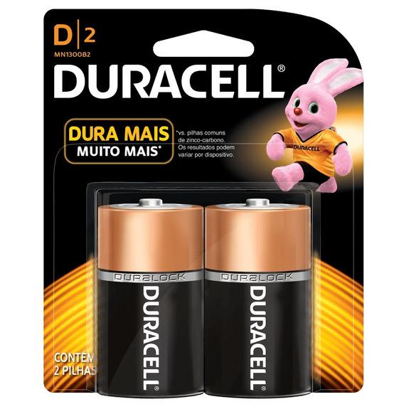 Pilha Duracell Alcalina D Com 2