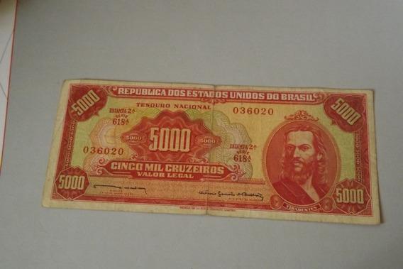 Cedula 5000 Cruzeiros Tiradentes Mbc