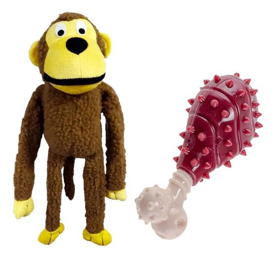 2 Brinquedos Pet Cachorro Macaco E Mordedor Com Aroma