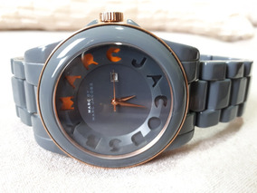 Relógio Unissex Original Marc Jacobs Cinza Dourado Laranja