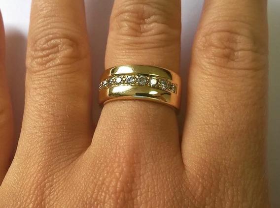 Três Anéis Em Ouro 18k Com Diamantes E Ouro Branco