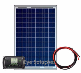 Kit Painel Placa Solar 50w + Controlador Regulador + Cabos