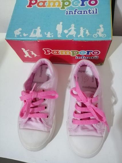 Zapatillas Niñas Lona Rosa Pampero Número 26