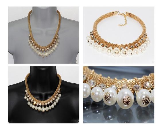 Collar Elegante Perlitas Cristales Fiesta Moda Joyeria Cc40