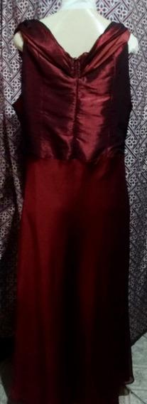 Vestido Tafetá Shifon Bordô Longo,madrinha+broche Semi Novog