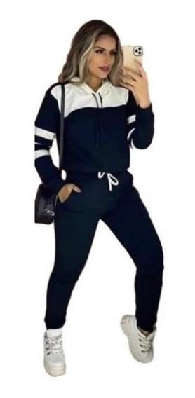 Conjunto Feminino Malha Crepe Blusa E Calça Inverno Luxo Top