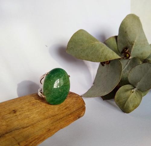 Imagen 1 de 4 de Anillo Regulable Cuarzo Verde Baño De Plata