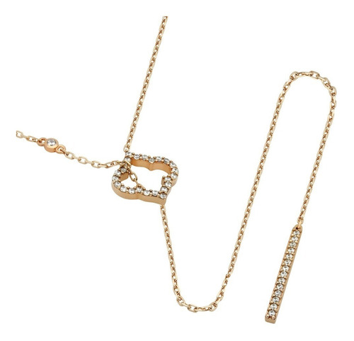 Rose Gold Royal Clover And Bar Lariat Necklace