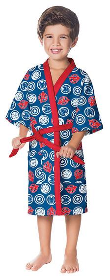 Roupão Aveludado Infantil Quimono Estampado Avengers P C/1 .