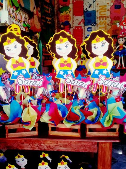 Centro De Mesa, Dulcero Mujer Maravilla Para Fiesta Infantil