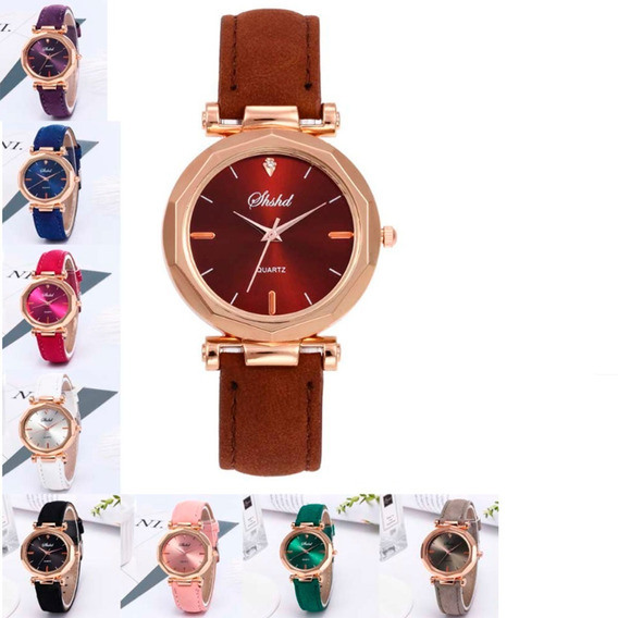 Relógio Feminino Minimalista Promoção Rosa Chock Cinza Roxo