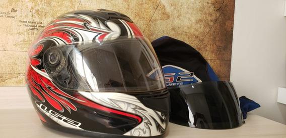 Capacete Ls2 Helmets Com Viseira Adicional Na Cor Fumê.