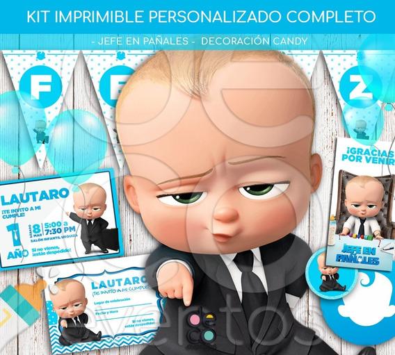 Kit Cumpleaños Jefe En Pañales Candybar Tarjetas Imprimible