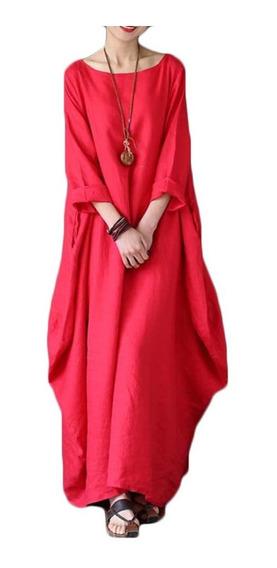 Vestido Bohemio Casual Algodón-lino 3xl-5xl