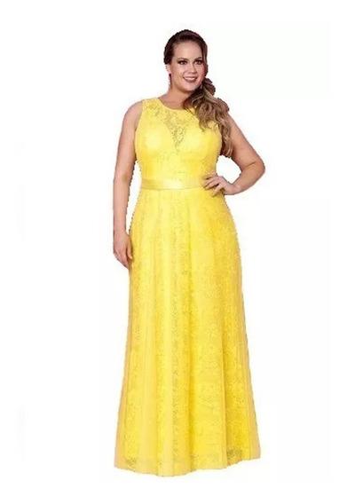Vestido Longo De Renda De Festa, Madrinha, Plus Size J018