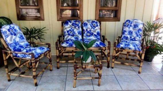 Jogo Cadeiras De Bambu Area Varanda Poltronas Cana Da India