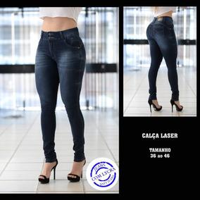 Calças Feminina Jeans Cintura Alta Lycra