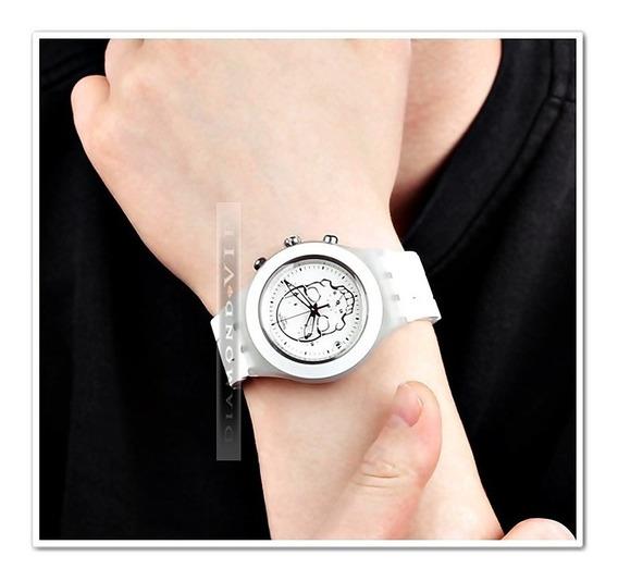 Relógio Swatch Irony Skull Masculino Swiss Original Branco