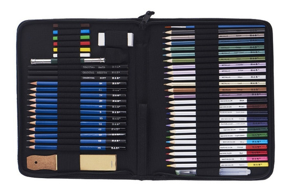 H & B 51 P?s / Set Kit De Desenho Profissional Lpis De