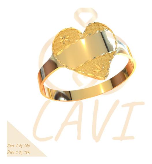 Anel Chapa Recortada Leve Coração Gravação Ouro 18k C22