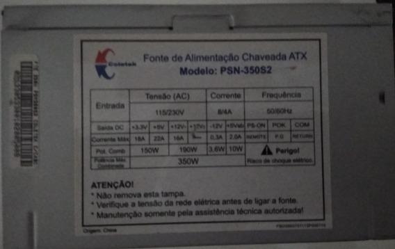 Fonte Atx Coletek 350w 192w Reais Usado Funcionando