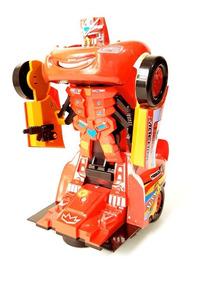 Carrinho Carro Robô Mcqueen Cars Transformers Som E Luz