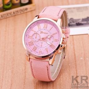 Relógio Feminino Importado Geneva Puseira Couro Barato