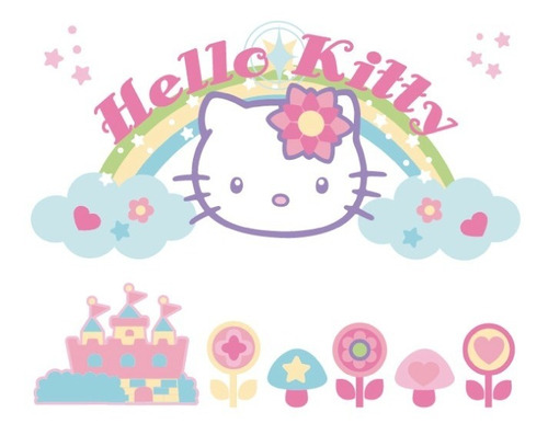 Vinilo Decorativo Hello Kitty 03 Arcoíris Castillo Y Flores