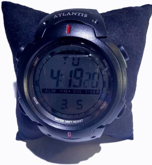 Relógio Atlantis Digital Preto Pulseira Borracha - 7330g