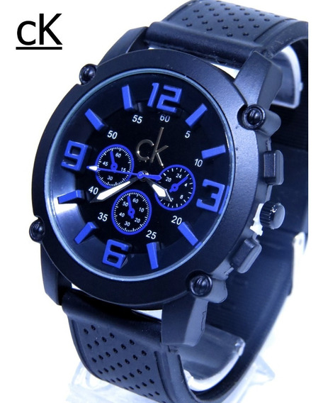 Relógio Preto Azul Masculino Grande Ck Original Na Caixa P. Entrega C111