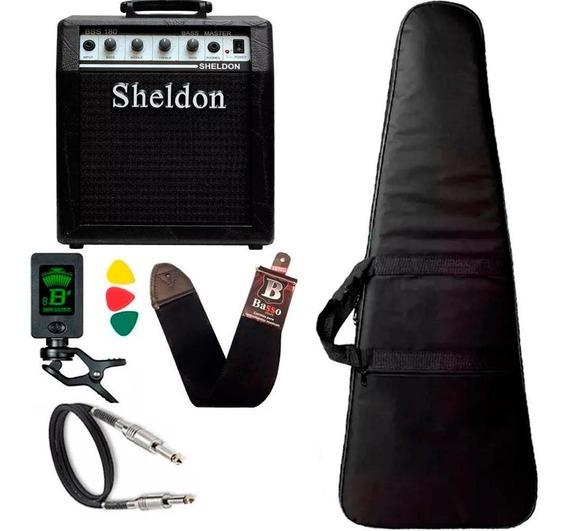 Kit Para Baixo Com Amplificador Sheldon Capa Cabo Correia